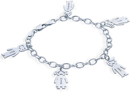 N975  - 925 Sterling Silver Personalized Family Names Bracelet, adjustable