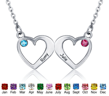 N301 - 925 Sterling Silver Couples Names & Birthstones Necklace