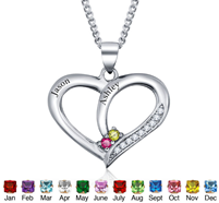 67ef2687c9 N280 - 925 Sterling Silver Personalized Couples Names & Birthstones necklace