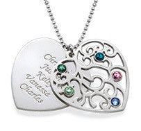 N377 - 925 Sterling Silver Personalized Mother's Family Names Necklace