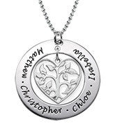 N375 - 925 Sterling Silver Personalized Mothers Family Names Necklace