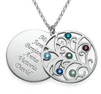 N378 - 925 Sterling Silver Personalized Mother's Family Tree Necklace
