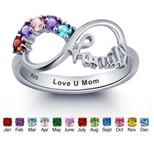 N272 - 925 Sterling Silver Personalized Family Birthstones Ring