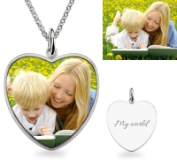 G108 - 925 Sterling Silver Heart Personalized Photo Necklace