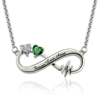 G107 - 925 Sterling Silver Personalized Birthstone Hearts Infinity Heartbeat Necklace