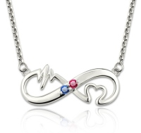 G105 - 925 Sterling Silver Personalized Infinity Heart Beat Birthstone Necklace