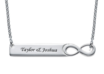N518 - 925 Sterling Silver Personalized Infinity Bar Name Necklace