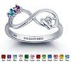 N282-CRI101783 - 925 Sterling Silver Personalized Birthstones & inside wording infinity ring