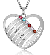 N287 - 925 Sterling Silver Personalized Mother's Necklace with names & birthstones