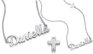 N456 - Sterling Silver Personalized Name & Cross Necklace