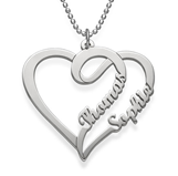 N520 - 925 Sterling Silver Personalized Names Heart Necklace
