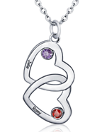 N291 - Sterling Silver Personalized Couples Names & Birthstones Entwined Hearts Necklace
