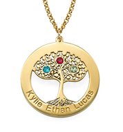N297 - Gold Plated Family Tree Necklace with 1-5 Names & Birthstones
