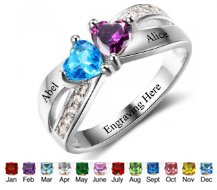 N308 - 925 Sterling Silver Personalized Couples Names & Birthstones Ring