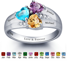 N271 - CRI101793 - 925 Sterling Silver Personalized Names & Birthstone Hearts Ring