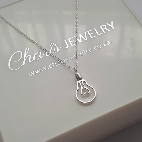 C958-C38245 - 925 Sterling Silver Light Bulb Necklace