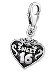 B80-C29509 - 925 Sterling Silver Sweet 16 Dangle Charm