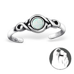 C128-27716FS - 925 Sterling Silver Fire and Snow Opal Toe Ring