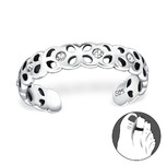 C223-C11680 - 925 Sterling Silver Hammered Toe Ring, Adjustable Size