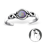 C200-C27716 -BG - 925 Sterling Silver Opal Bubble Gem Toe Ring