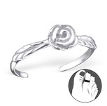 C21060 - 925 Sterling Silver Rose Toe Ring, Adjustable Size