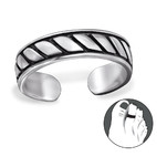 B121-C29423 - 925 Sterling Silver Ribbed Toe Ring