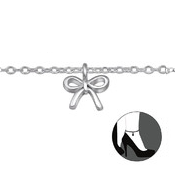 C149-C30320 - 925 Sterling Silver Bow Adjustable Anklet / Ankle Chain