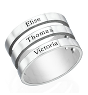N2012 - 925 Sterling Silver Personalized 3 Names Ring