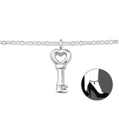 C199-C31577 - 925 Sterling Silver Key Ankle Chain / Anklet