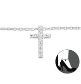 C140-C27642 - 925 Sterling Silver Cross Adjustable Ankle Chain