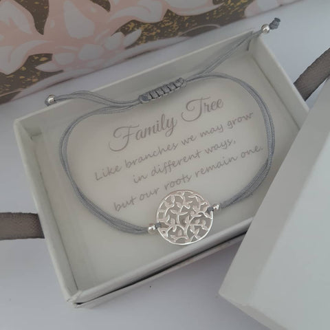 C1005-C39005 - 925 Sterling Silver Tree Bracelet, Adjustable, Personalized Note