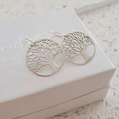 Silver Tree dangle earrings