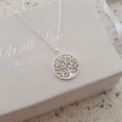 Silver tree necklace cz stones