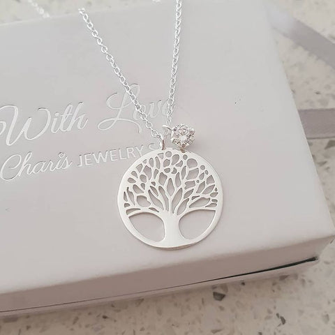 C1189-C36841 - 925 Sterling Silver CZ Stone Tree Necklace