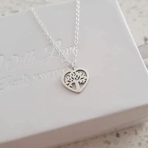 C361-C23025 - Sterling Silver Tree of Life Heart Necklace