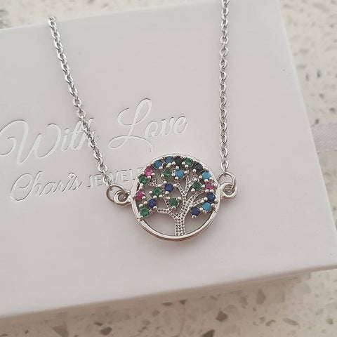 SS45-CB0151447 - Silver Stainless Steel CZ Tree Necklace