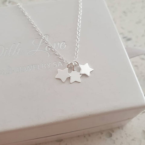 A98-C17074 - 925 Sterling Silver Triple Star Necklace