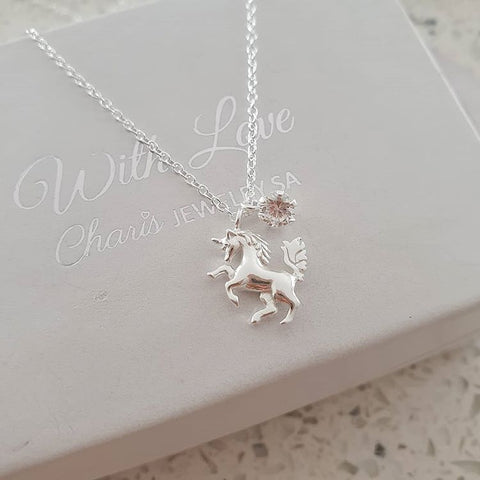 C1143-C36843 - 925 Sterling Silver Unicorn with CZ Stone Necklace
