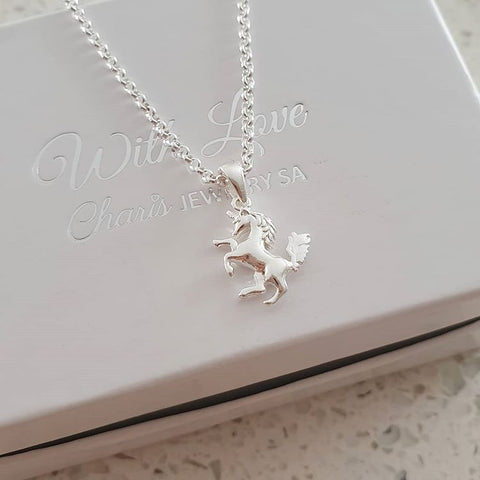 C32272 - 925 Sterling Silver Unicorn Necklace