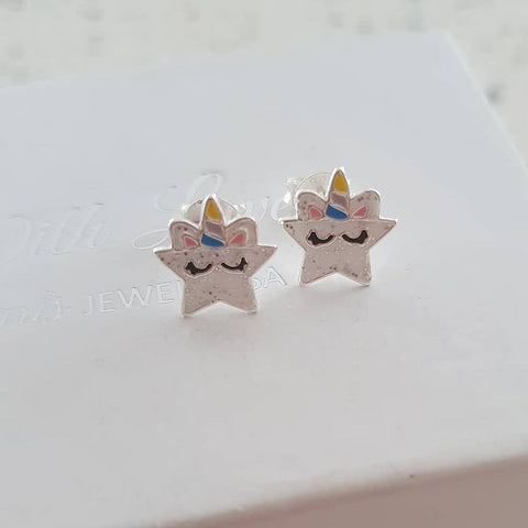 A318-C37871 - 925 Sterling Silver Unicorn Star Earrings, 9x10mm