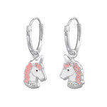 C884-C34042 - 925 Sterling Silver Unicorn Glitter CZ Dangle Earrings
