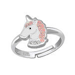 C885-C34044 - 925 Sterling Silver Unicorn Glitter & CZ Adjustable Size Ring