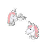 C883-C32010 - 925 Sterling Silver Unicorn Glitter & CZ Earrings