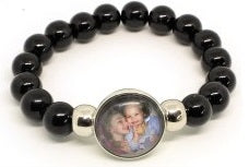MD-10 - Mother's Personalized Photo Snap Button Stretch Bracelet in Gift Box