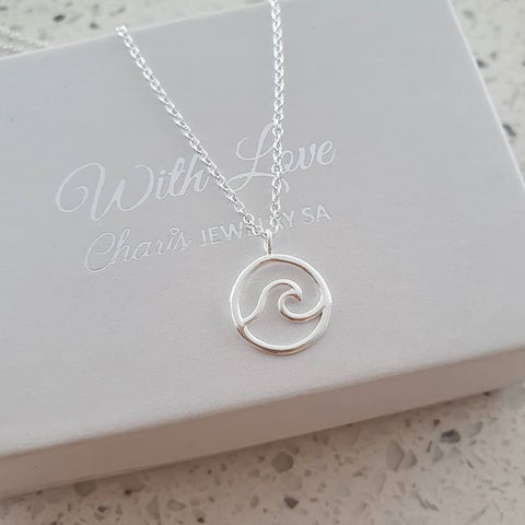 C410-C32223 - 925 Sterling Silver Wave Necklace