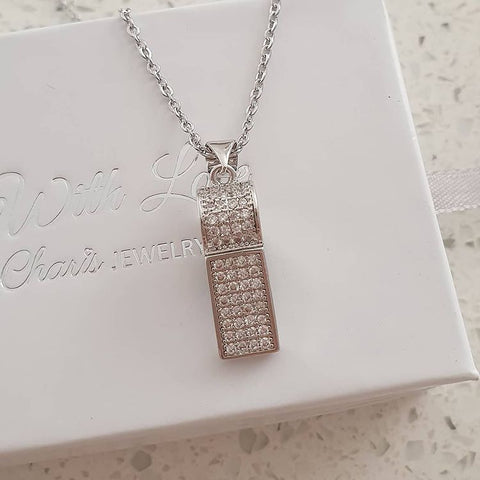 SS38-CB0223266 - Silver Stainless Steel CZ Whistle / Coach Necklace