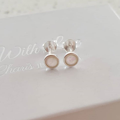 Silver white opal earrings