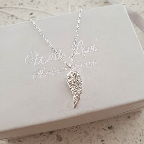 C1009-C19467 - 925 Sterling Silver CZ Stones Wing Necklace