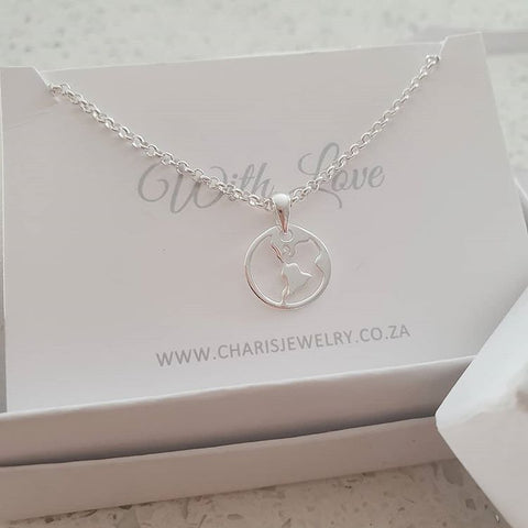 C32269 - 925 Sterling Silver World Necklace