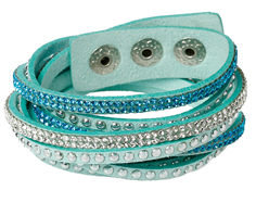 FB3 - Multi Layer Fashion Bracelet, Green blue with rhinestones, adjustable size